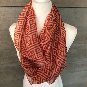 Accessories - NWOT Beautiful Orange and White Infinity Scarf